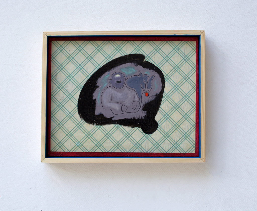 """Adolf And Blondi"" 2015. B:31 X H:25 cm. Oil and acrylic on MDF."